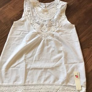 Tops - Cream Chiffon laced sleeveless blouse